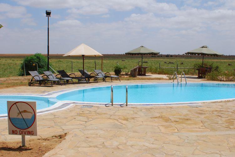 Lodge Pool mit Aussicht auf Zebras