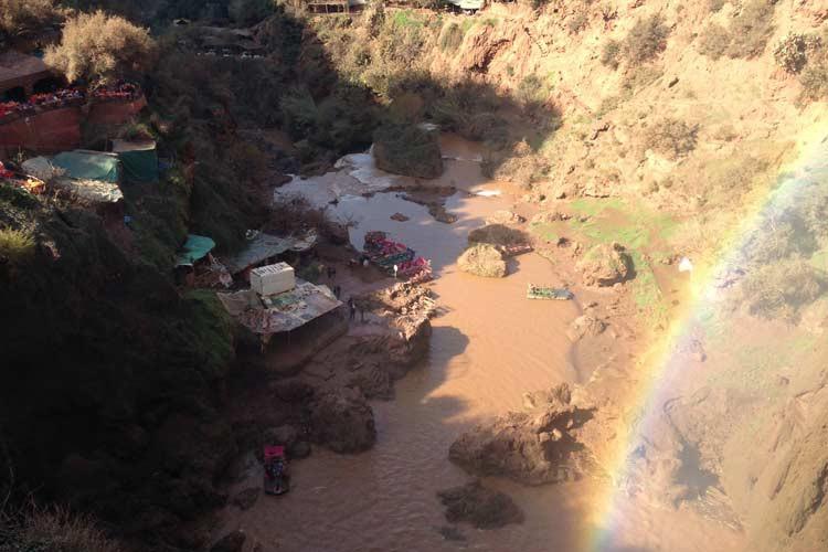Blick ins Tal von den Ouzoud-Wasserfälle aus
