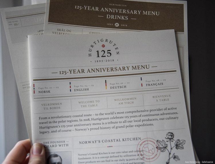 das 125 Jahre Hurtigruten Menü