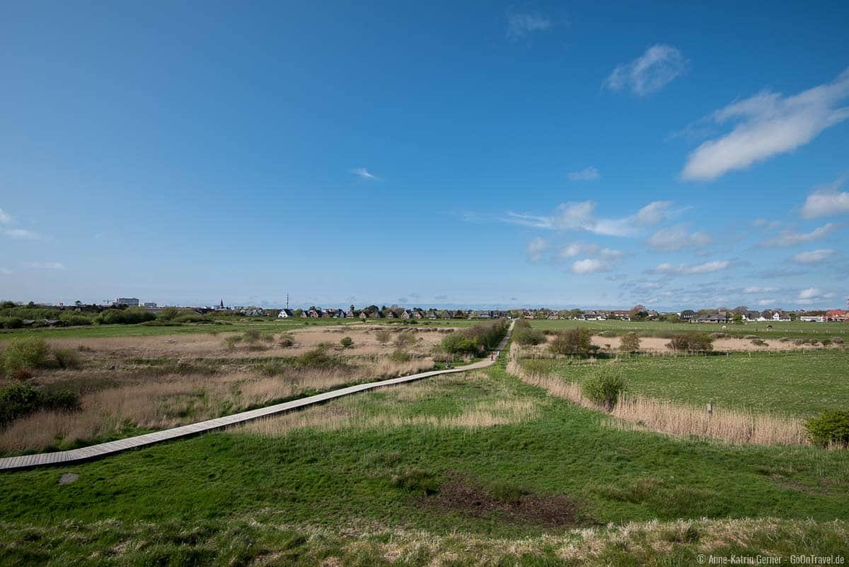 Blick von der Tinnum-Burg über Tinnum und Westerland