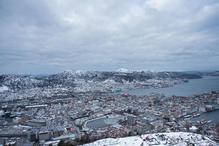 Panoramablick über Bergen