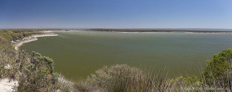 Die Brackwasser-Lagune von oben