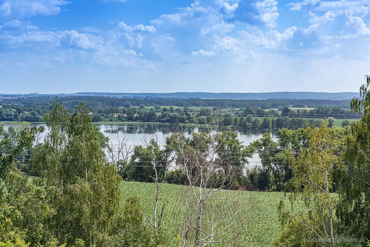 Blick vom Aussichtspunkt in Brandenburg auf den Rosinsee