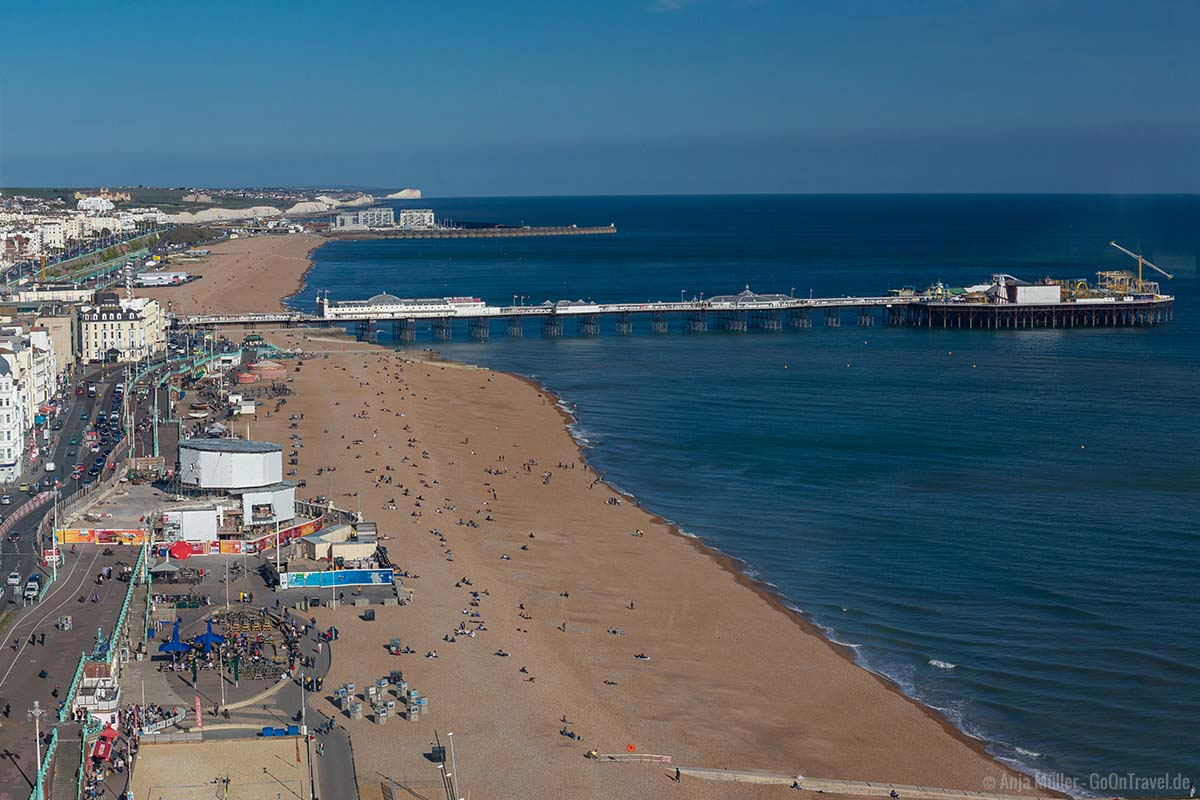 Blick aus der Glaskuppel des i365 auf Brighton