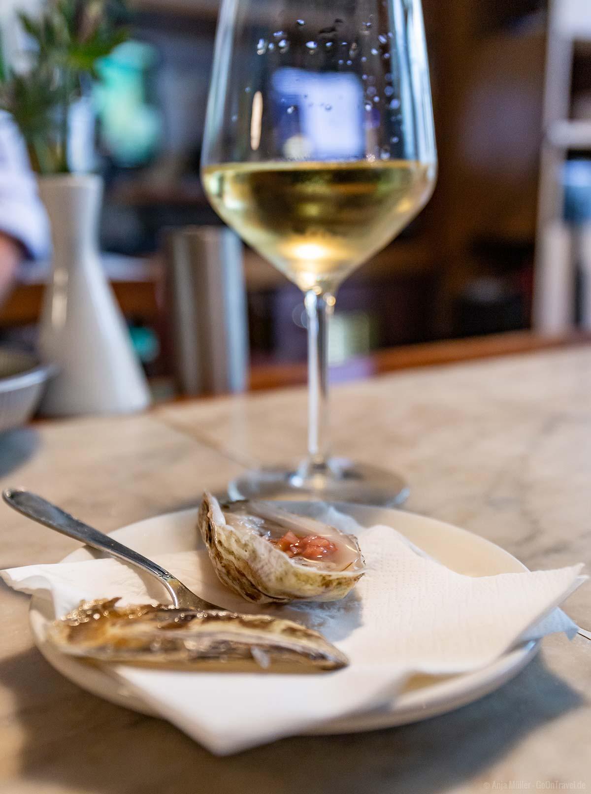 Weißwein und Austern im Englisch´s Restaurant