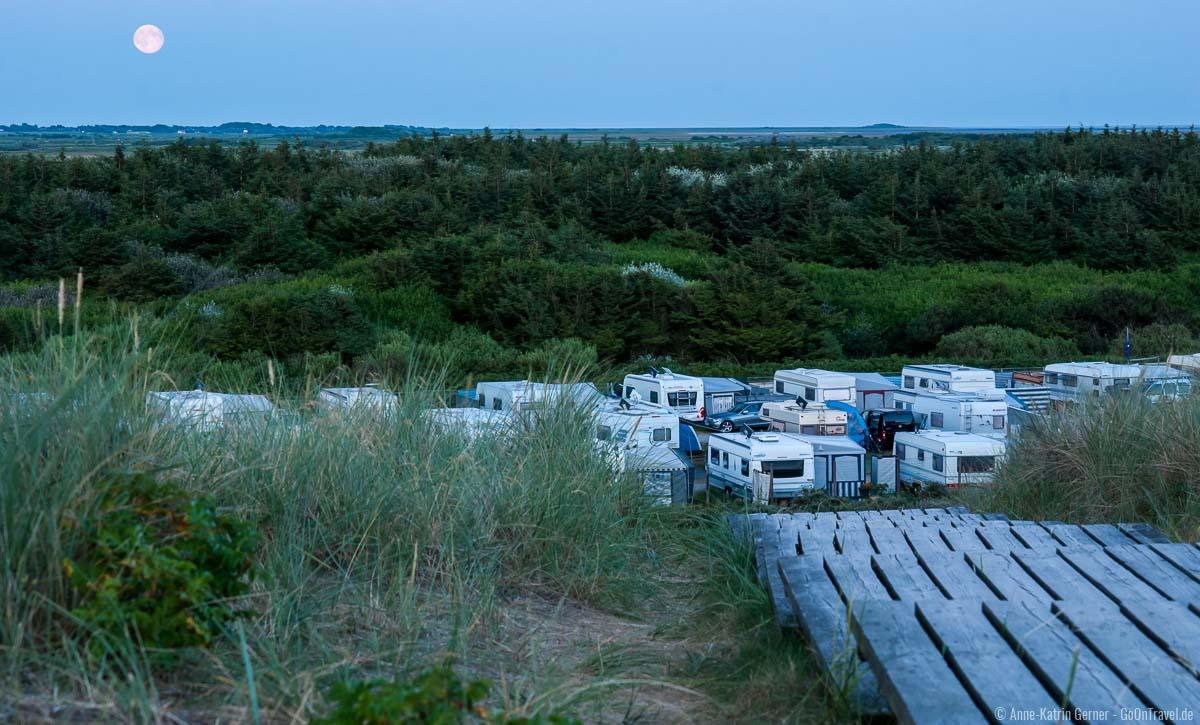 Campingplatz Westerland bei Vollmond