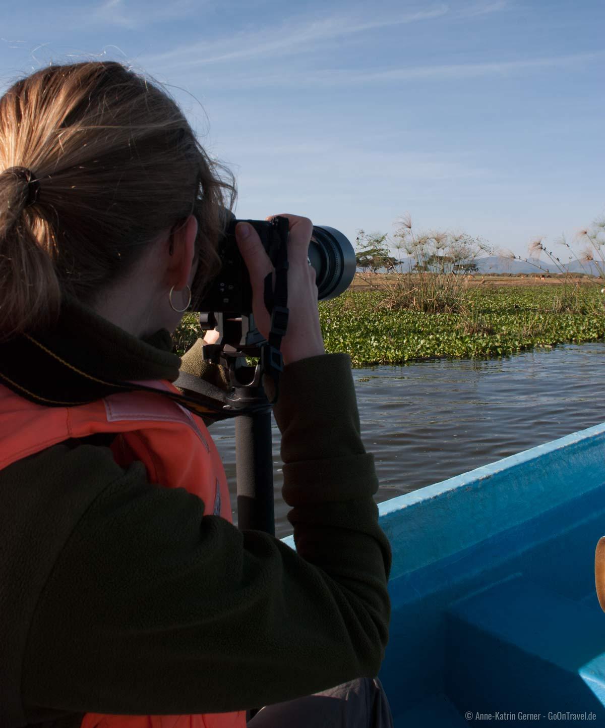 Das Einbeinstativ im Einsatz auf dem Lake Naivasha /Kenia.