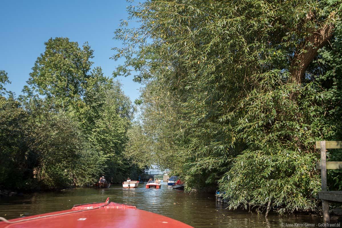Auch mit dem Kanu oder dem Tretboot geht es gemütlich in Richtung Treene