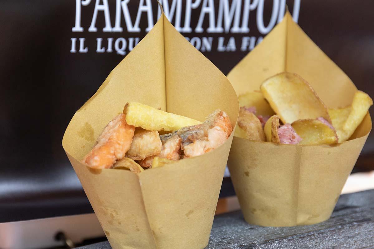 Kartoffelchips mit Fisch