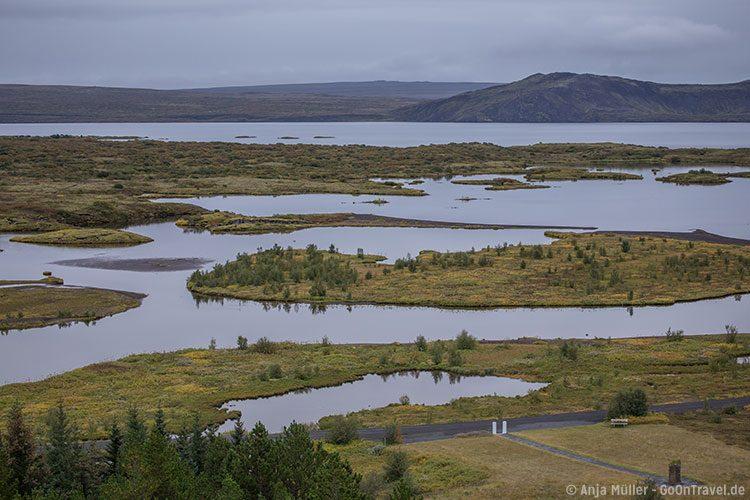 Blick auf das Gebiet Þingvellir