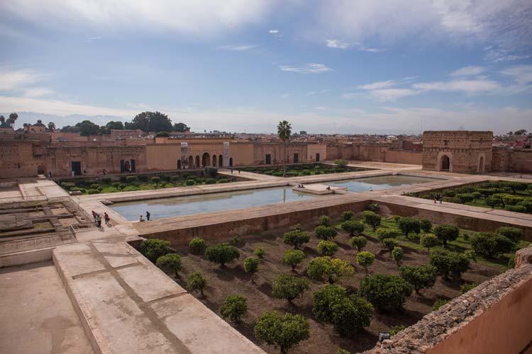 Blick in den Innenhof des El Badiaa Palast