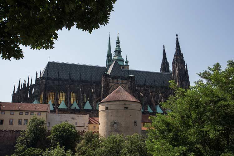 Blick auf die Prager Burg vom Park aus
