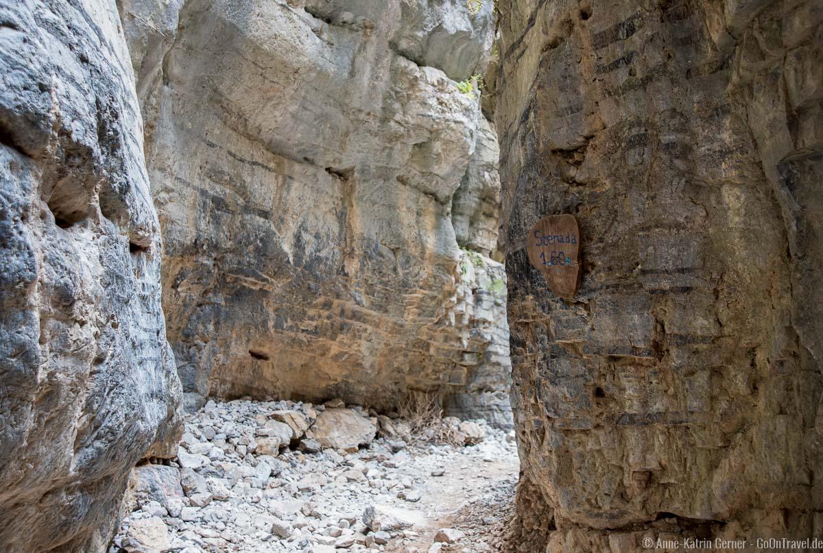 Stenada ist die schmalste Stelle in der Schlucht