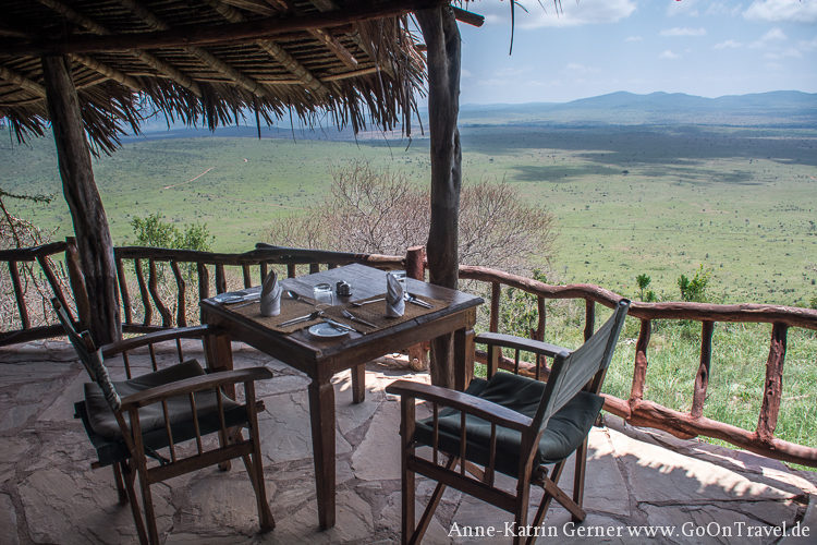 Lunch in der Lions Bluff Lodge Kenia