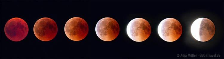 Die Mondfinsternis mit Blutmond im Ablauf