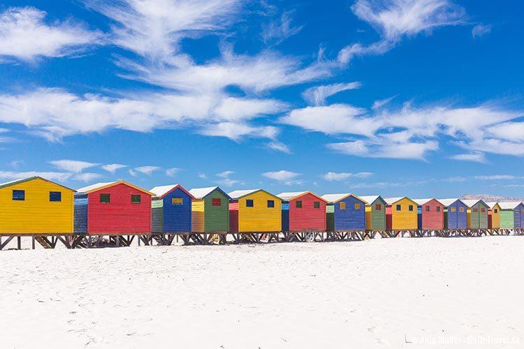 Die bunten Strandhäuser von Muizenberg