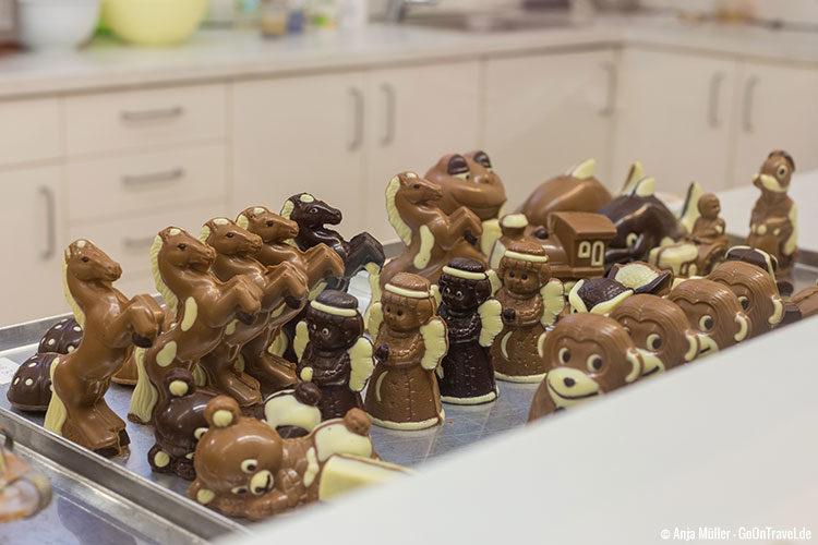 Die fertigen Schokoladenfiguren der Schokoladenmanufaktur Boitzenburg