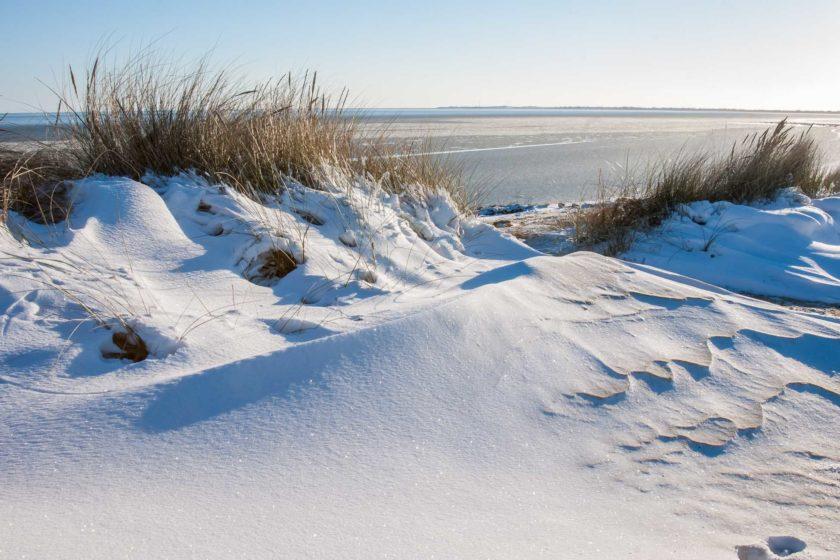 Silvester auf Sylt bei Schnee am Watt