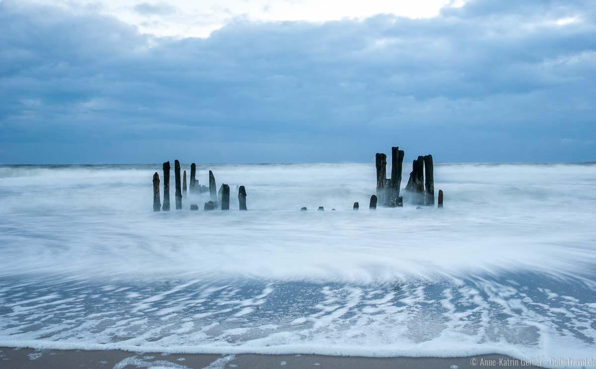 Buhnen am Strand in Rantum am Sandwall