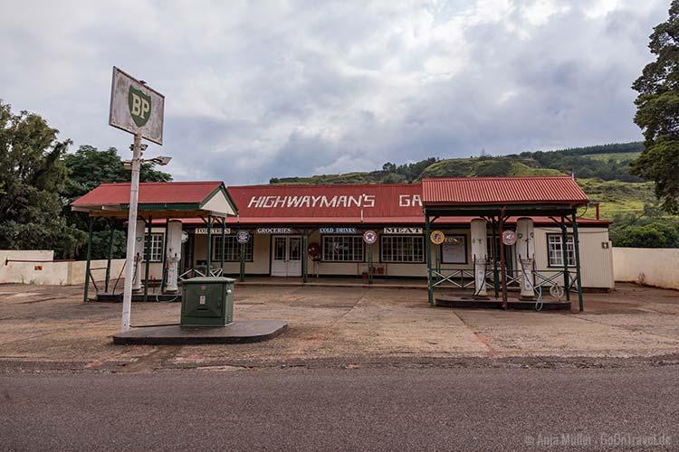 Eine alte historische Tankstelle in Pilgrim's Rest