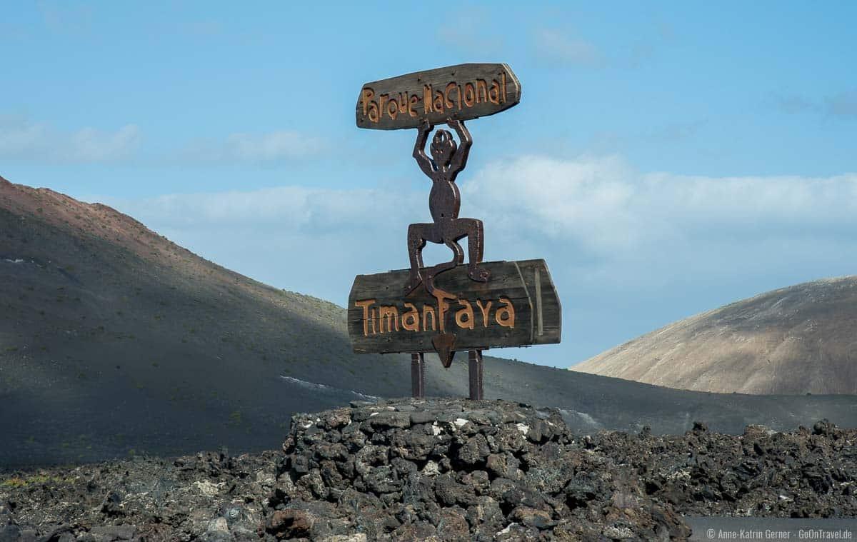 Der von César Manrique entworfenen Teufel markiert den Timanfaya Nationalpark