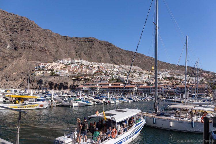Im Hafen von Los Gigantes mit Whale Watching Teneriffa Ausflugsbooten